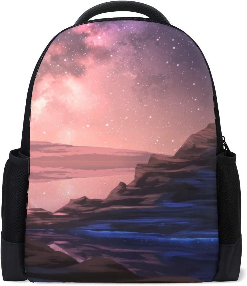 Mountain Stars Starry Sky Bookbag School Backpack Luggage Travel Sport Bag