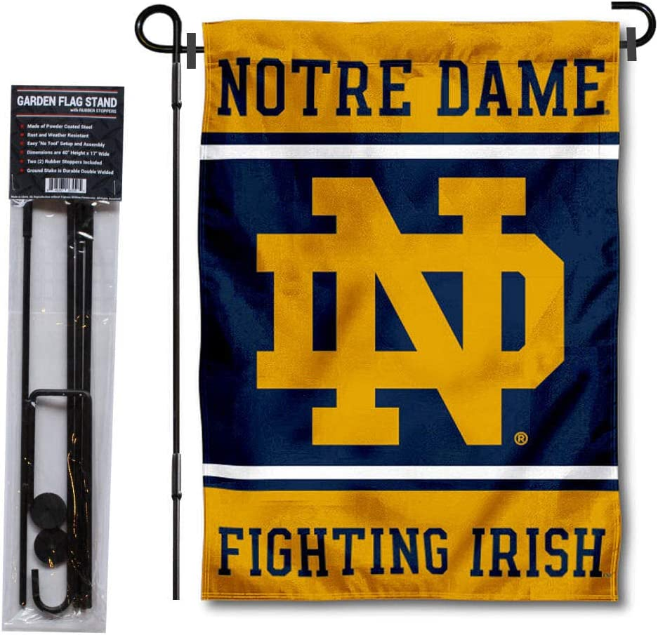 College Flags & Banners Co. Notre Dame Garden Flag and Flag Stand Pole Holder Set