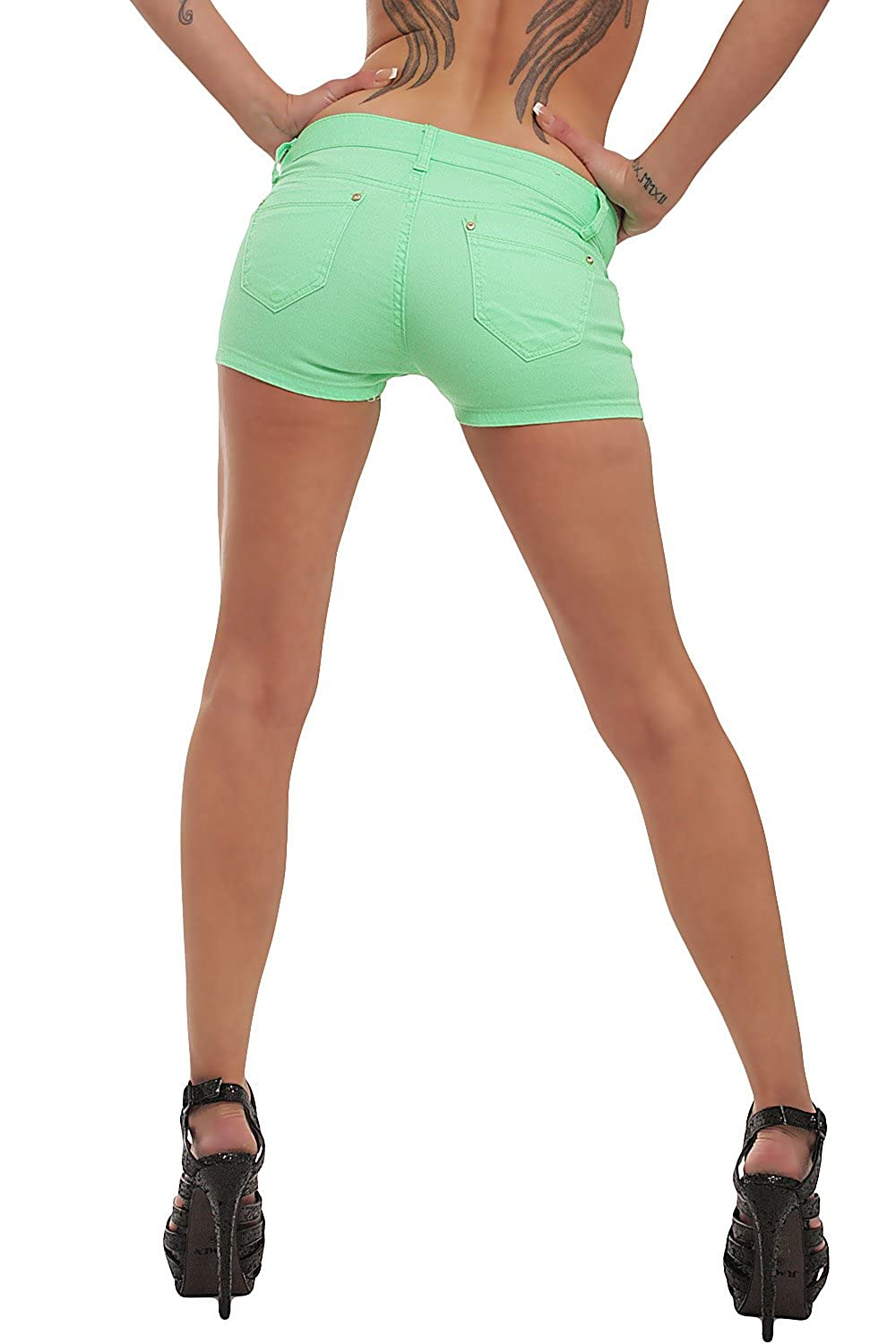 10021 Fashion4Young Damen Sexy Stretch-Denim Hotpants Short kurze Hose verfügbar in 5 Gr. 6 Farben (XL = 42, Neongrün)
