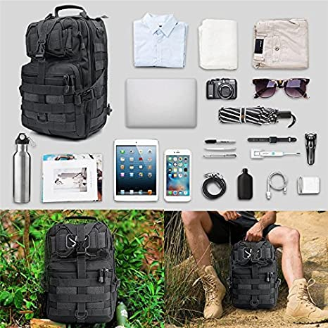 Amazon.com: Military Tactical Assault Pack Sling Backpack Army Molle Waterproof EDC Rucksack Bag For Outdoor Hiking Camping Hunting 20L BK 20L: Sports & ...