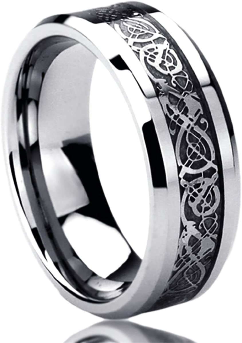 Prime Pristine 8mm Stainless Steel Wedding Band Ring for Men & Women Celtic Dragon Inlayed Ring for Men & Woman