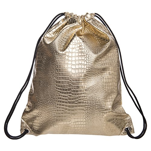 Skull PU leather Drawstring Backpack for Traveling or Shopping Casual Daypacks School Bags (Gold)