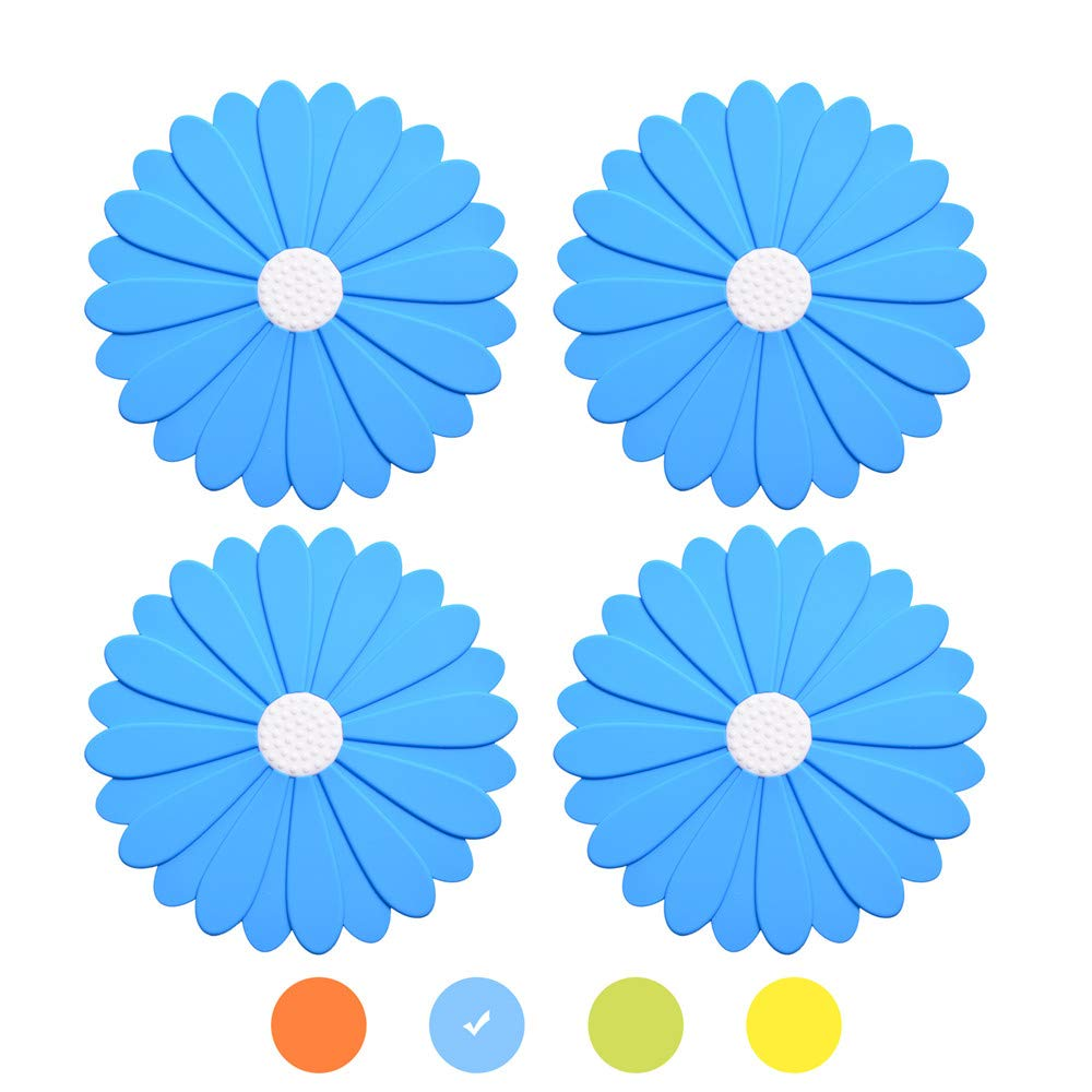 Blue Silicone Trivet Mats, 8 Inch Flower Hot Pads, Set of 4 Pot Holders Non-Slip Silicone Insulation Mat for Home Use OUCHAN