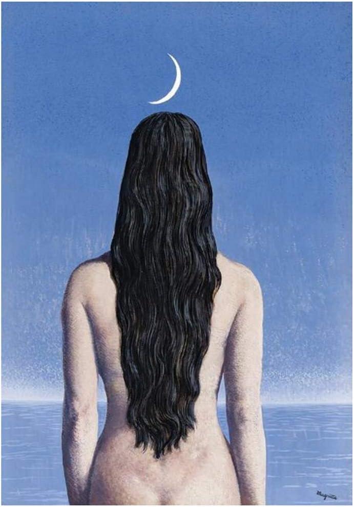 yhyxll Surrealismo El Vestido de Noche Pinturas sobre Lienzo de René Magritte Famosos Carteles e Impresiones de Arte de Pared Imágenes artísticas para Sala de Estar -50x75cm Sin Marco