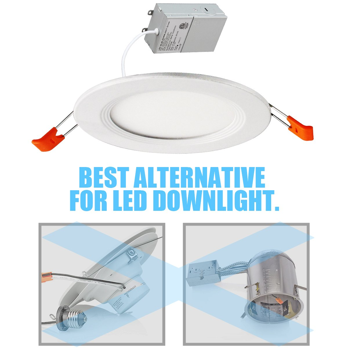 Thksgod 9w 4 Ultra Thin Recessed Ceiling Light With Junction Box Wiring Diagram Of Triac Dimming Led Downlight Connecting Over 1 Slim Dimmable 5000k Daylight Airtight 650lm65 80 W
