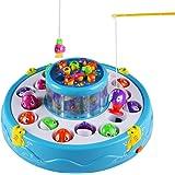 Pesca Elettronico Gioco di Società Livelli Doppia Rotazione Giocattolo con Musica Leggera e 30pcs Pesci per i Bambini (Il Colore Può Variare)