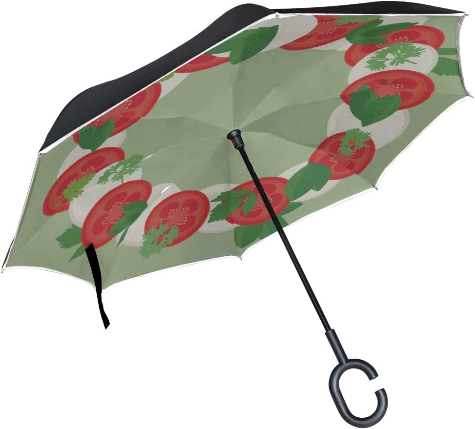 Double Layer Inverted Inverted Umbrella Is Light And Sturdy Wolf Reverse Umbrella And Windproof Umbrella Edge Night Reflection