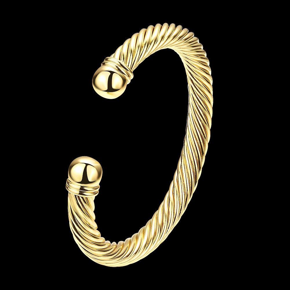 Zhiwen Simple Cuff Bracelet 18K Real Gold Platinum Plated Fine Bangle Bracelet Cable Wire Twisted Cuff Bangle Bracelets for Women Men by Zhiwen (Image #3)