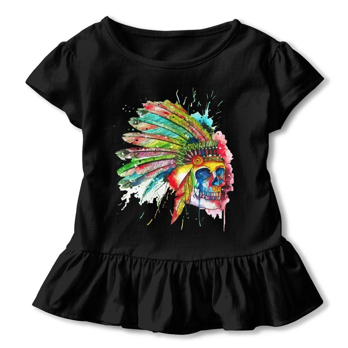 CZnuen American Indian Skull Baby Girls Round Neck Short Sleeve Ruffle T-Shirt Top