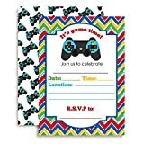 Game Time! Video Gamer Birthday Party Fill In Invitations set of 10