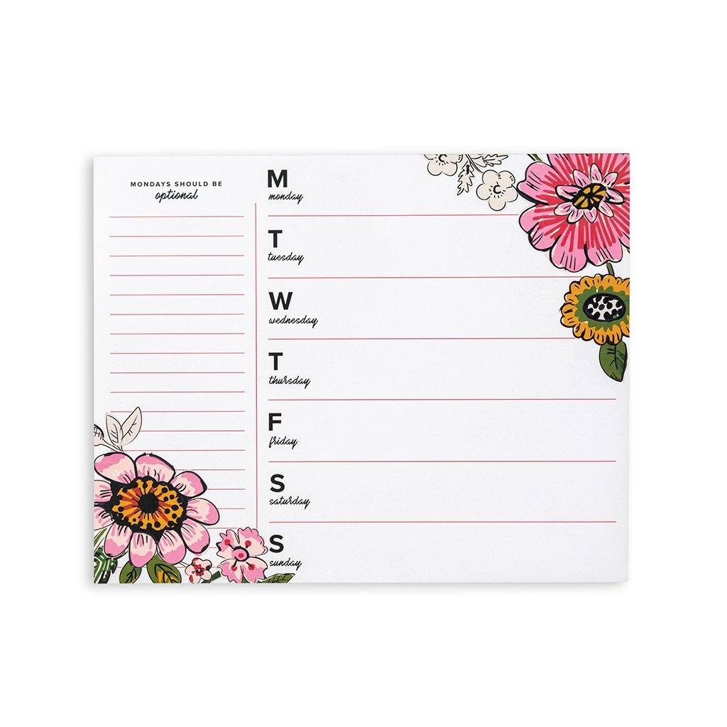 Vera Bradley Women's Weekly To-Do Notepad Personal Desk Planner, Coral Floral White