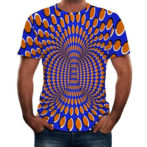 MILIMIEYIK Blouse Men 3D Printed Casual Summer Short Sleeve Slim Fit T-Shirt Tees Blue -