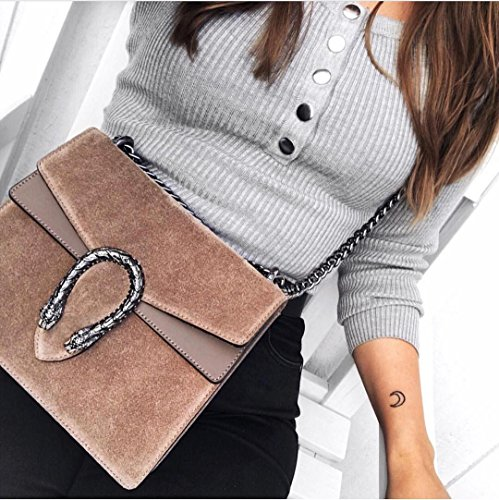 metal Italy in leather flap with accessory Mini Made suede chain tiger and snake smooth bag Baugette Taupe clutch RACHEL and gAnf0aT