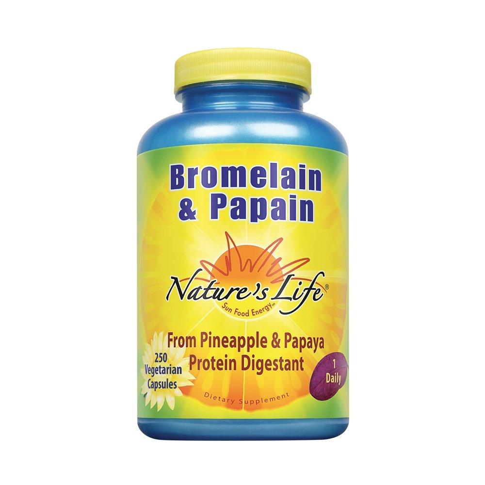 Nature's Life Bromelain & Papain from Pineapple & Papaya, 250/250 Mg, 250 Vegetarian Capsules
