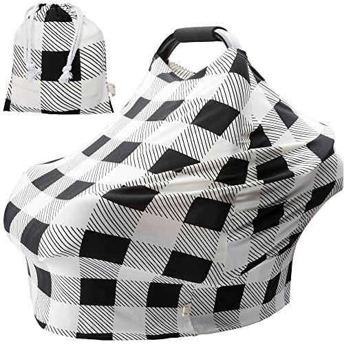 Nursing Covers for Newborns Baby Car Seat Covers for Baby Girls and Boys Gifts Black and White Grid Check Pattern Baby Shower Gift