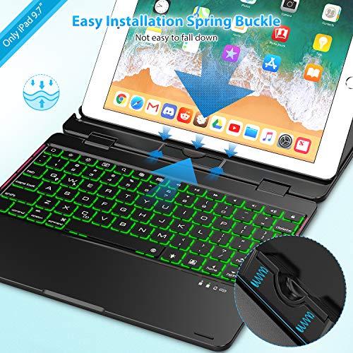 Keyboard Case Compatible with iPad 2018 (6th Gen) / 2017 (5th Gen) / iPad  Pro 9 7 / iPad Air 2 & 1 | 360 Rotatable & Aluminum iPad Case with Keyboard