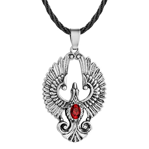 AILUOR Stainless Steel Charm Created Ruby Phoenix Pendant Leather