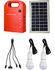 GutReise Portable Home Outdoor Small DC Solar Panels Charging Generator Power Generation System 4.5Ah/6V Lead-Acid Batteries with 6000K-6500K White LED Bulb and Mobile Phone Charging Function