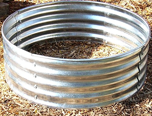 35 Inch Round Galvanized Outdoor Fire Pit Ring 12 1/2'' Height by Calpar Creations