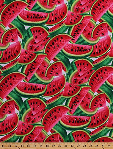 Cotton Watermelon Slices Watermelons Farmer's Market Fresh Fruits Fruit Food Gardening Kitchen Cotton Fabric Print by The Yard (fruit-c1137-multi) ()