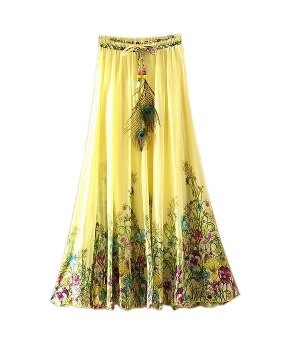 Yellow Flower Vine Pattern Summer Chiffon Skirt Large Swing Skirts Fairy Skirt Panda Superstore PS-SPO9938289011-SUSAN01665