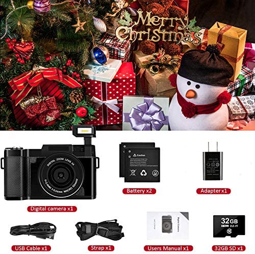 Digital Camera Vlogging Camera Full HD 30MP 2.7K Camera with Flip Screen Vlog Camera with 32G Memory Card and a pair of Batteries(Fixed Focus)