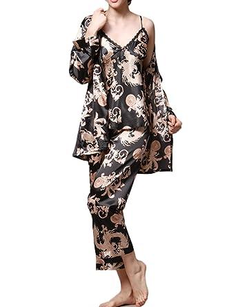 b486d64b0a NATURET Women s Pajamas Bathrobe Lovers Three-Piece Suite Silk Satin  Nightgown (blackwomen