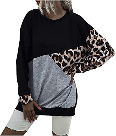 Eoeth Women Ladies Patchwork Print Long Sleeve Pullover Tops Shirts Blouse