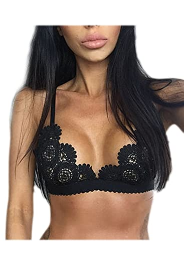 Yacun Womens Underwear Wireless Lace Bra Black XS