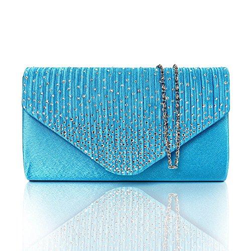 - Diamonte Envelope Clutch Shoulder Bag Purse Womens Fashion - Turquoise