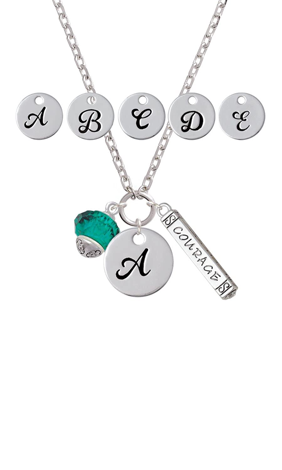Teal Faceted Glass Spinner Custom Initial Courage Strength Zoe Necklace