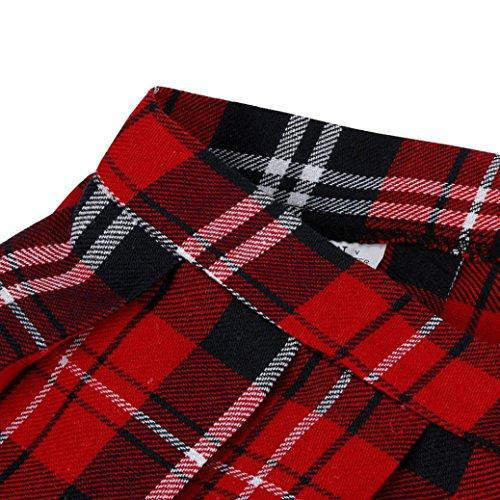 Tartan Ecossais Femmes Yanhoo Rouge Pliss Rouge tudiants Coton M Chaud Robe Plaid Jupe Uniforme Filles qwBd5nzCE