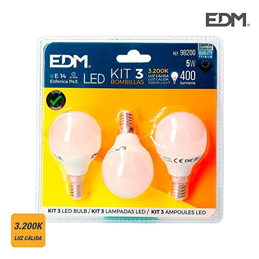 KIT 3 BOMBILLAS LED ESFERICAS 5 W E 14 3.200K CALIDA