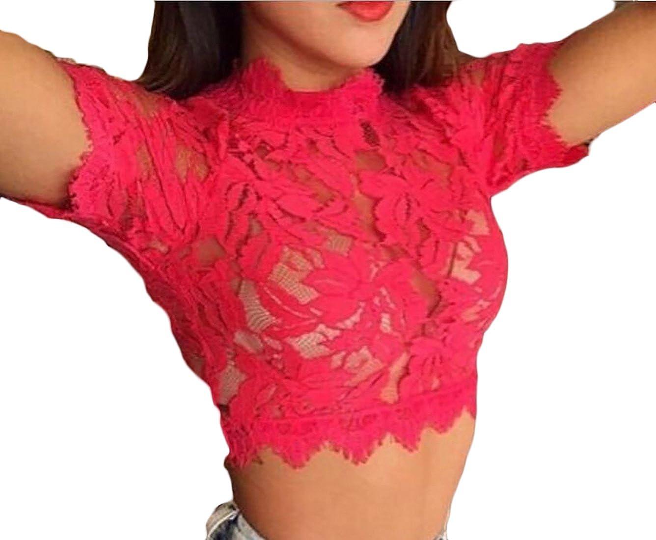 Alion Womens Fashion Sheer Eyelash Short-sleeved Lace Trim Crop Top