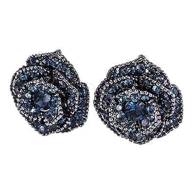 eb1cfd7a8 Amazon.com: Eleganze Silver Plated Belle Tiny Rose Flower Earring Black  Blue Crystal Women Fashion Enchanted Stud Earrings Rhinestone Teardrop  Flower ...
