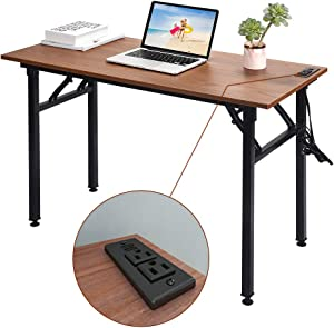 Frylr Folding Computer Desk with Plugs & USB Ports, Home Office Desks Foldable 43.3x19.6x29.5 Inch Study Table for Student Writing Desk for PC/Laptop, No Installation, Walnut + Black Leg