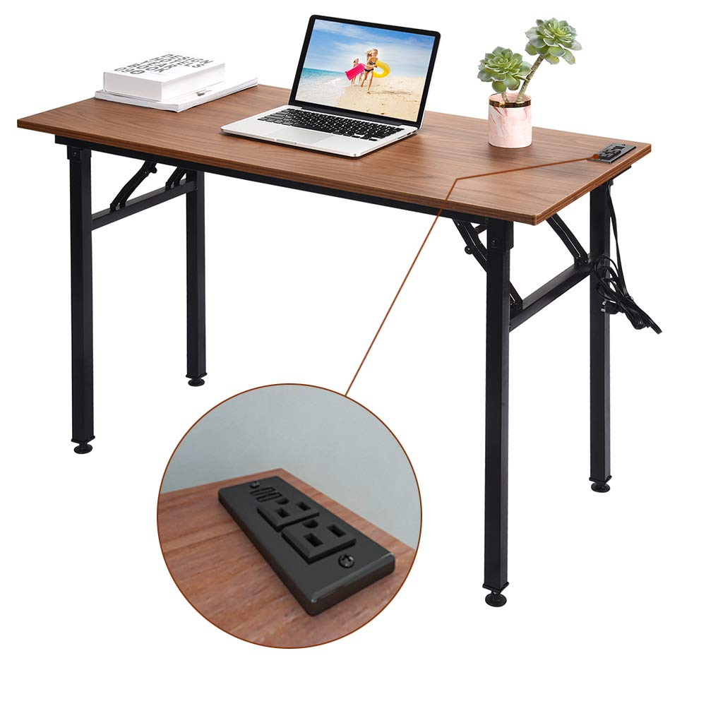 Frylr Small Folding Writing Desk with USB Ports & Power Plugs 31.5x15.7x29 Inch Small Office Computer Desks Portable for Home Office, Foldable Student Study Tables for Small Space, Walnut+ Black Leg
