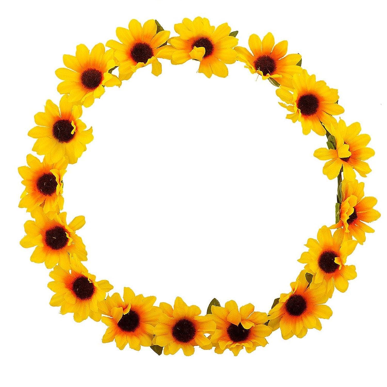 Lux Accessories Sunflower Floral Flower Yellow Head Hair Crown