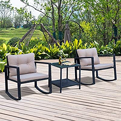 Outsunny 3PCs Rattan Patio Set 2 Rocking Chairs and Coffee Table