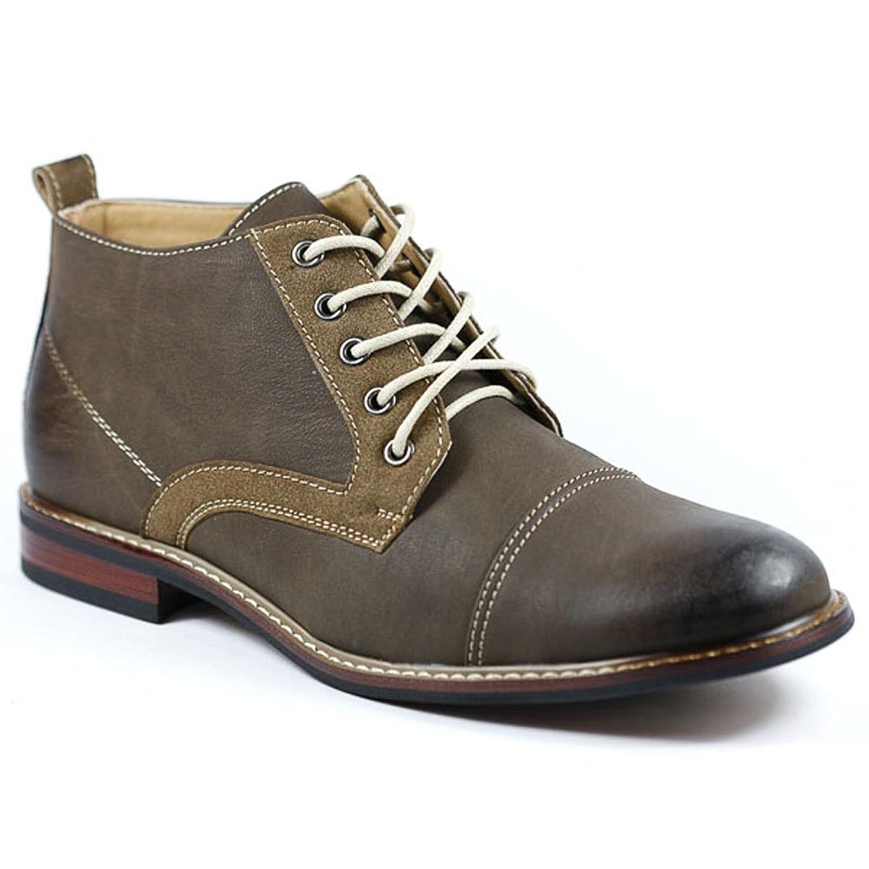 Ferro Aldo MFA-506013 Brown # 207 Men's Lace Up Cap Toe Dress Ankle Boot Shoes