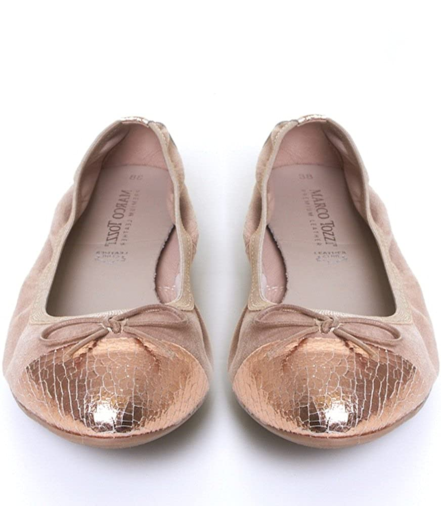 MARCO TOZZI Womens Flat Blush Pink Suede Ballerina Pumps w