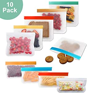 10 Pack Reusable Storage Bags, Silicone and Plastic Airtight Freezer Bags Ziplock (6 Sandwich Bags + 4 Snack Bags) BPA Ziplock Lunch Bag for Food Travel Storage Home Organization