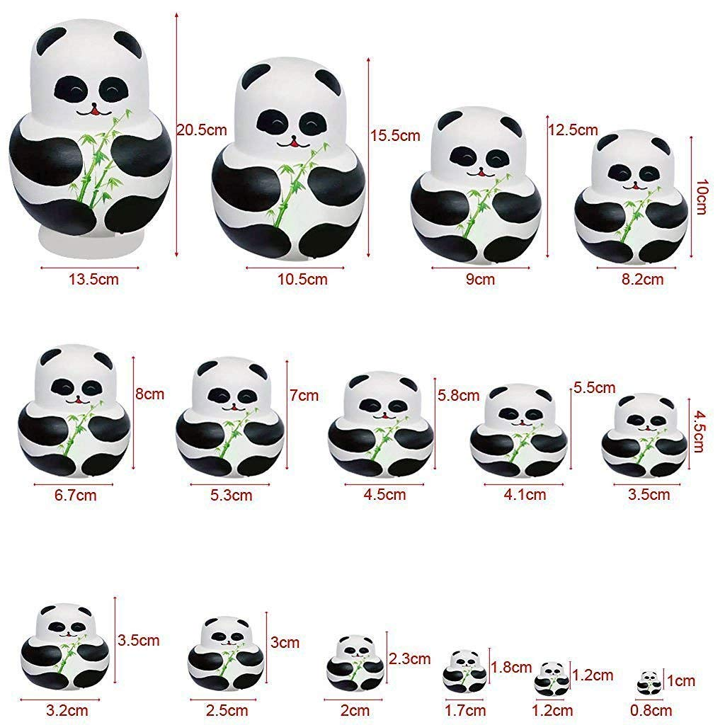 Apol Set of 15 Panda Bear with Bamboo Nesting Dolls Big-Belly Wooden Handmade Matryoshka Russian Doll in a Box with Bow for Kids Toy Home Decoration Year by Apol (Image #2)