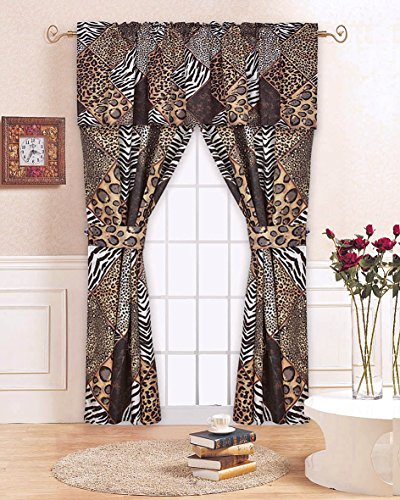 Safari Leopard Cheetah Zebra Animal Print Brown Patchwork 5pc Window Treatment CURTAINS (Animal Safari Window Panels)