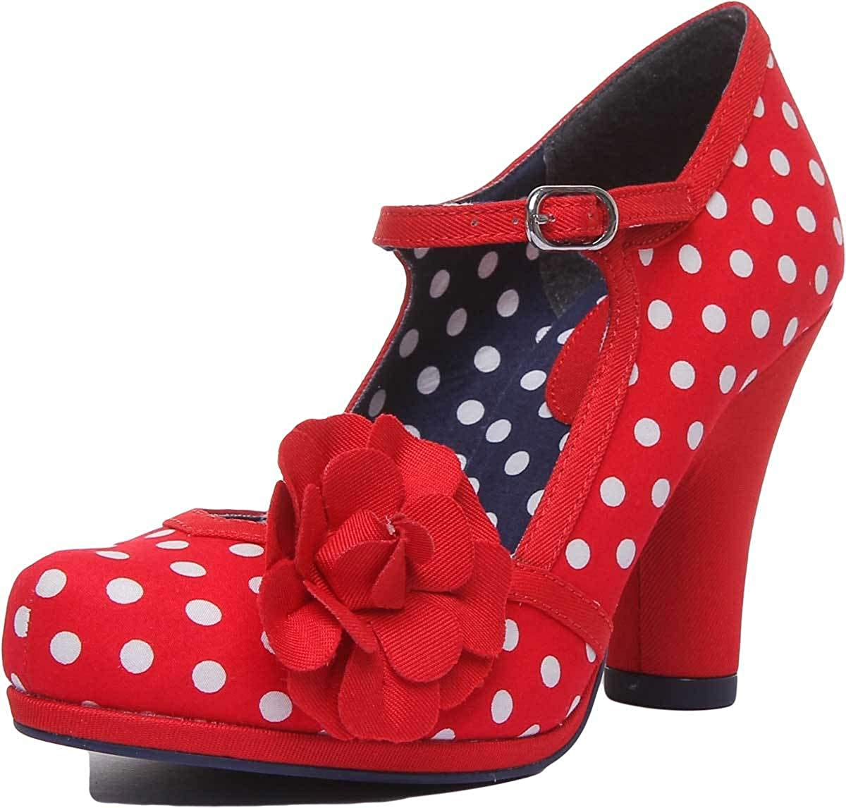 RUBY SHOO HANNAH red spots MARY JANE polka dot SHOES HEELS