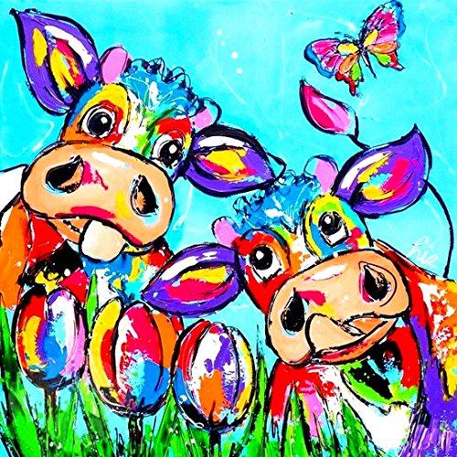 21secret 5D Diamond Diy Painting Full Drill Handmade Color Graffiti Cows Flowers Butterfly Cross Stitch Home Decor Embroidery Kit by 21secret