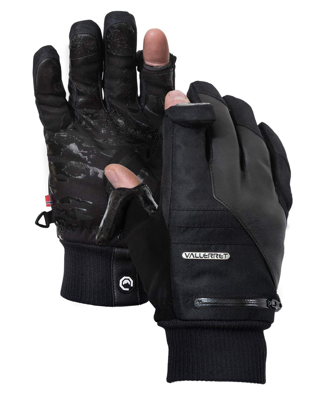Vallerret Photography Gloves Markhof Pro Model 2.0 100/% merino wool liner with flip fingers and zip pocket magnets Black//Grey Designed for photographers to photograph during winter