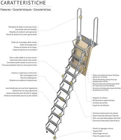 Mister Step UP Escalera escamoteable tipo tijera para altillos y loft: puerta de madera multicapa 70x100 cm. (H 250 cm.): Amazon.es: Bricolaje y herramientas