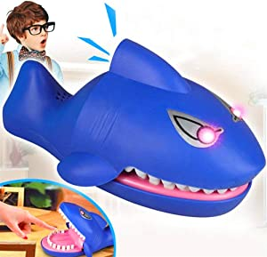 Diniiko Toy Shark Bite Game, Cute Shark Game Dentist Game Classic Biting Hand Game Catch Me Game Evil Laughter Glowing Flashing Eyes Funny Shark Baby Toys Game