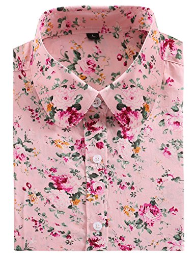 (DOKKIA Women's Tops Tropical Casual Blouses Long Sleeve Work Button Up Dress Beach Aloha Hawaiian Shirts (Large, Pink Fuschia Floral))